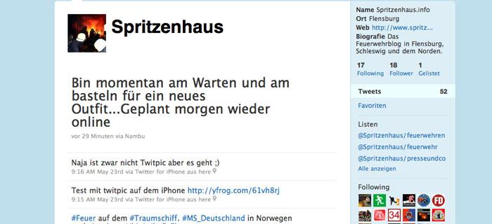 Spritzenhaus twittert nun auch !