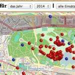 Einsatzkarte mit Pin-Auswahl Screenshot: Selbsterstellt