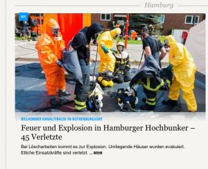 Dekontamination der Einsatzkräfte beim Bunkerbrand in Rothenburgsort (HH). (Screenshot von shz.de, selbsterstellt)