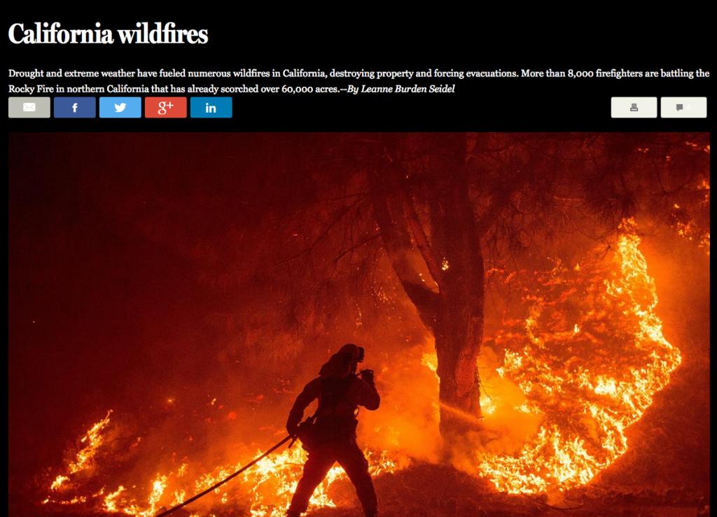 """Busch- und Waldbrände im August 2015 in Kalifornien. Screenshot von """"The Big Picture"""", selbsterstellt"""